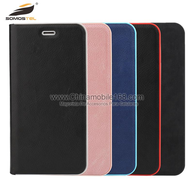 Flip Cover Lujo De Unico Color Con Marco pc Para Iphone-Funda ...